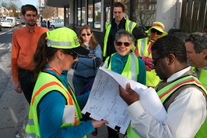 GDOT engineers and PEDS leaders look at plans for safety improvements on Ponce de Leon