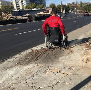 Lack of sidewalk maintenance creates barriers to wheelchair user