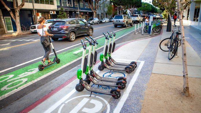 In-street parking corrals for e-scooters and LIT lanes installed in Santa Monica
